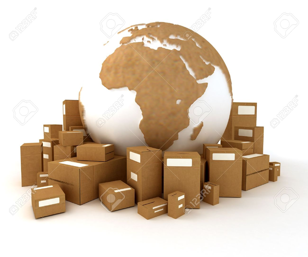 Cardboard textured world Europe oriented with a heap of packages - 4387580