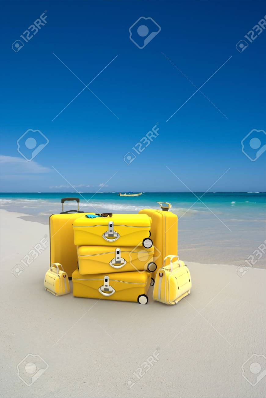 Pile of yellow luggage on a tropical beach Stock Photo - 4785747