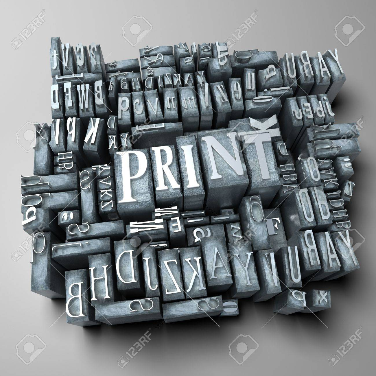 stock photo word print in print letter cases