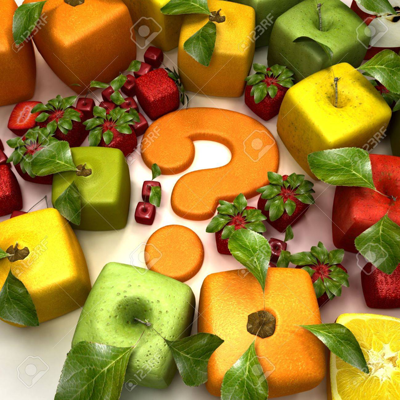 3D rendering of a selection of cubic fruits surrounding a question mark Stock Photo - 5527926