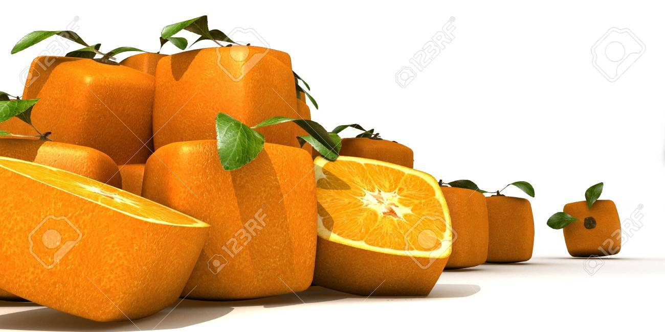 composition with Piles of cubic oranges Stock Photo - 5547024