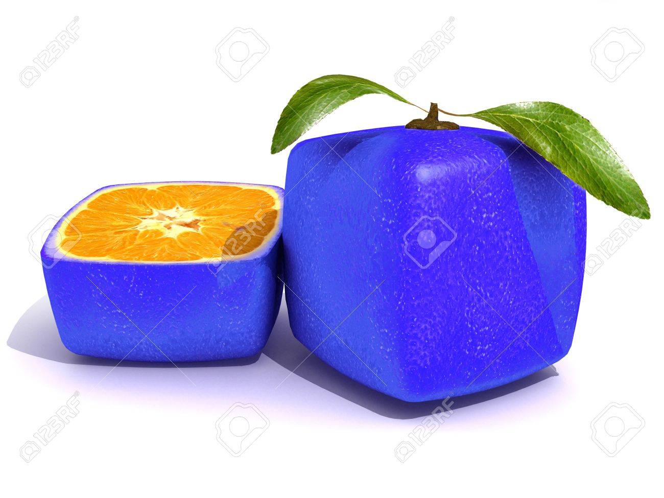 3D rendering of a blue cubic citric fruit and a half Stock Photo - 5631903