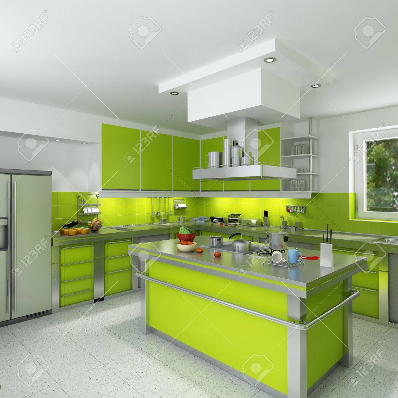 Le rendu 3d d'une cuisine moderne et spacieux dans le vert et le ...