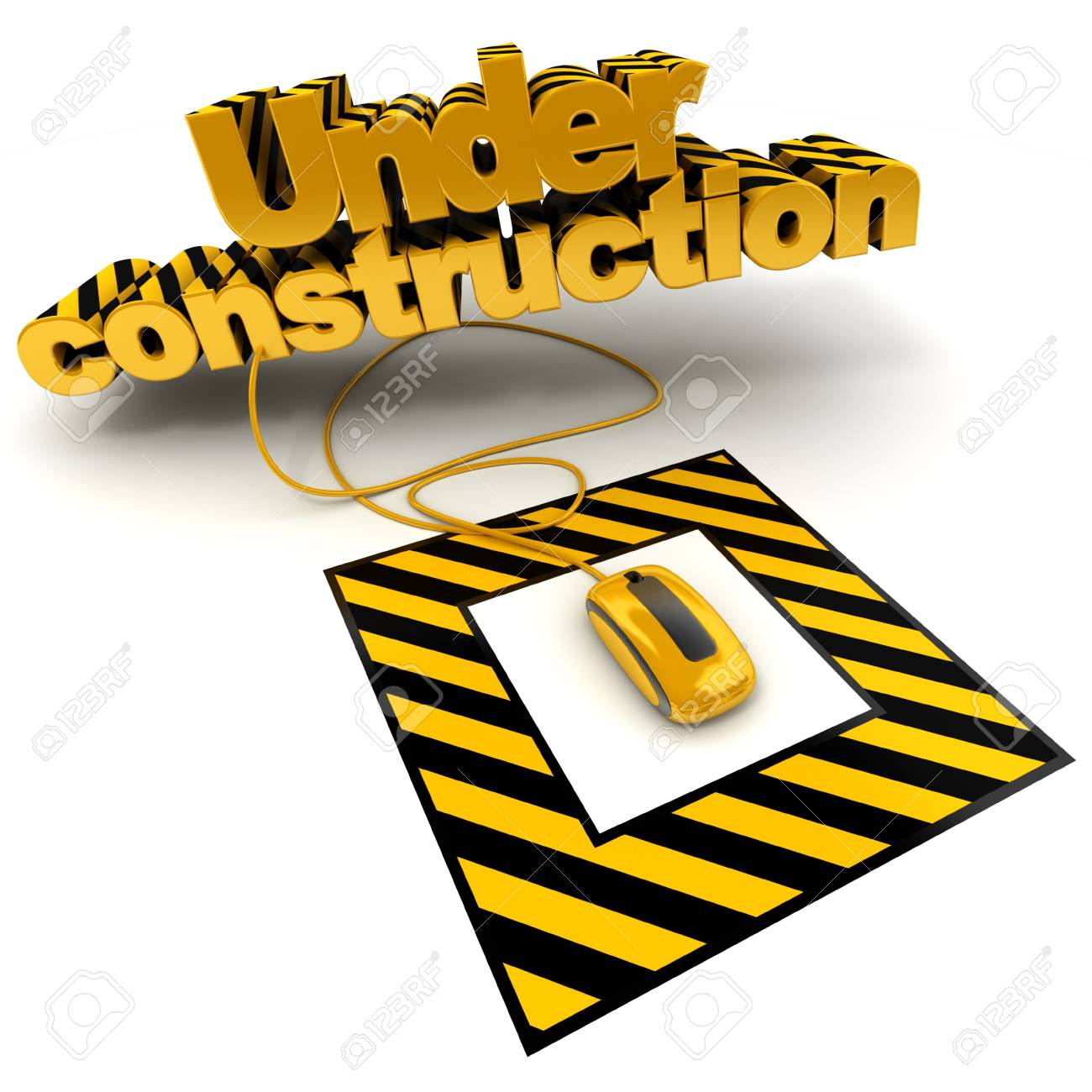3D illustration of the word under construction connected to a computer mouse with black and yellow stripes Stock Photo - 5719666