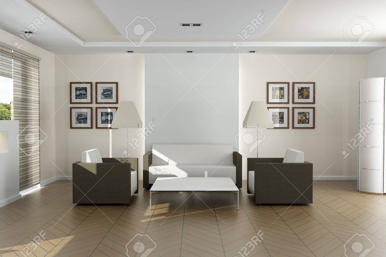 Elegant Modern Living Room. The Pictures On The Wall Are Mine ...