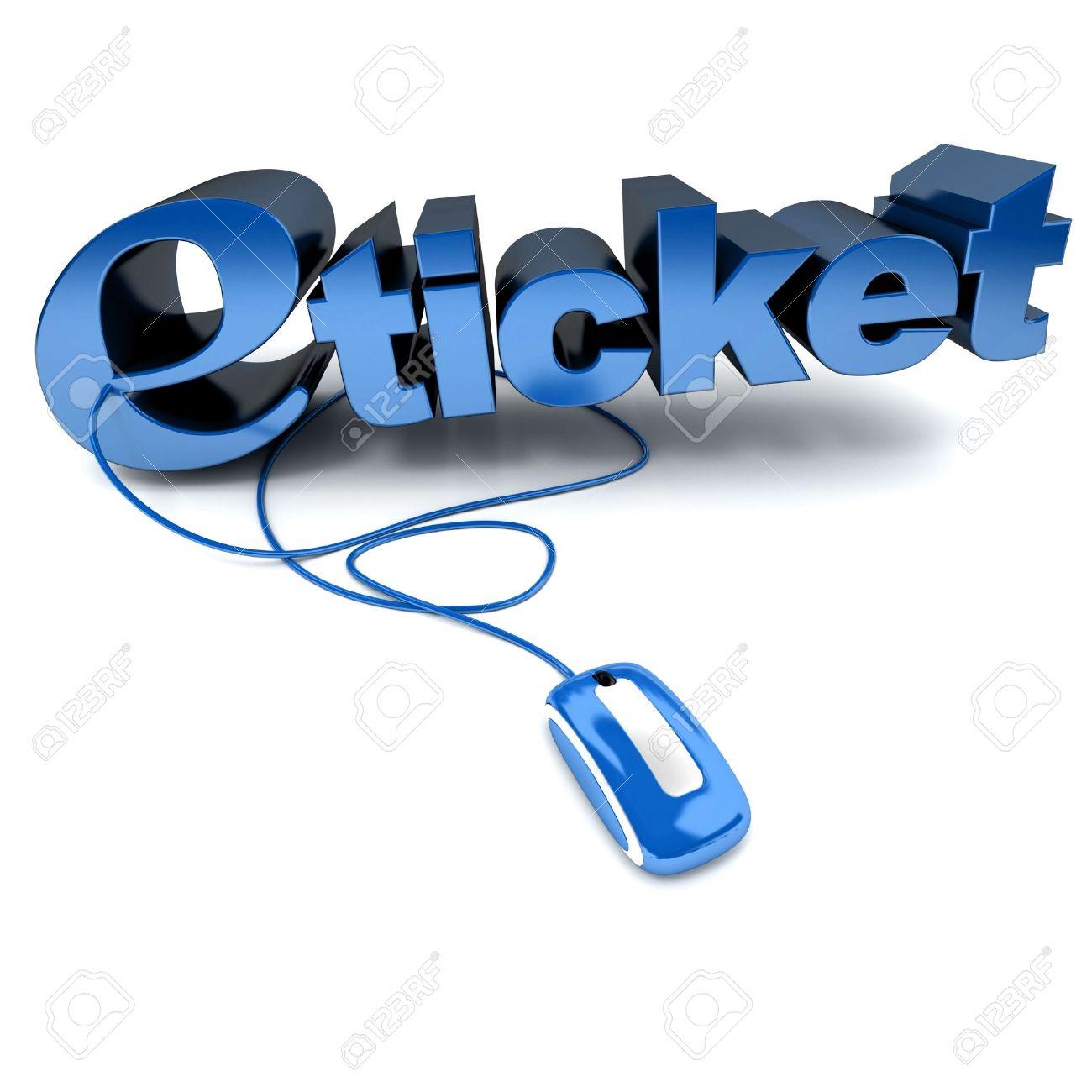 Blaue Und Weiße 3D Abbildung Das Wort E-Ticket An Eine Computermaus ...