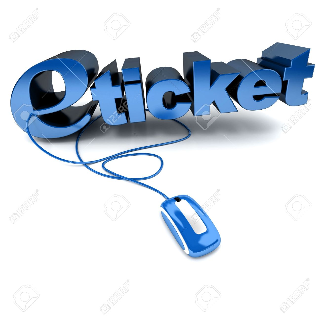 Blue And White 3D Illustration Of The Word Eticket Connected – Ticket Word