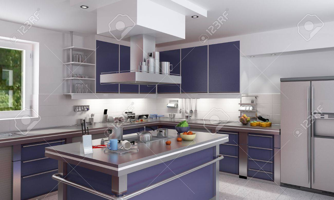 3D rendering of a modern spacious kitchen in blue and chrome Stock Photo - 6010883