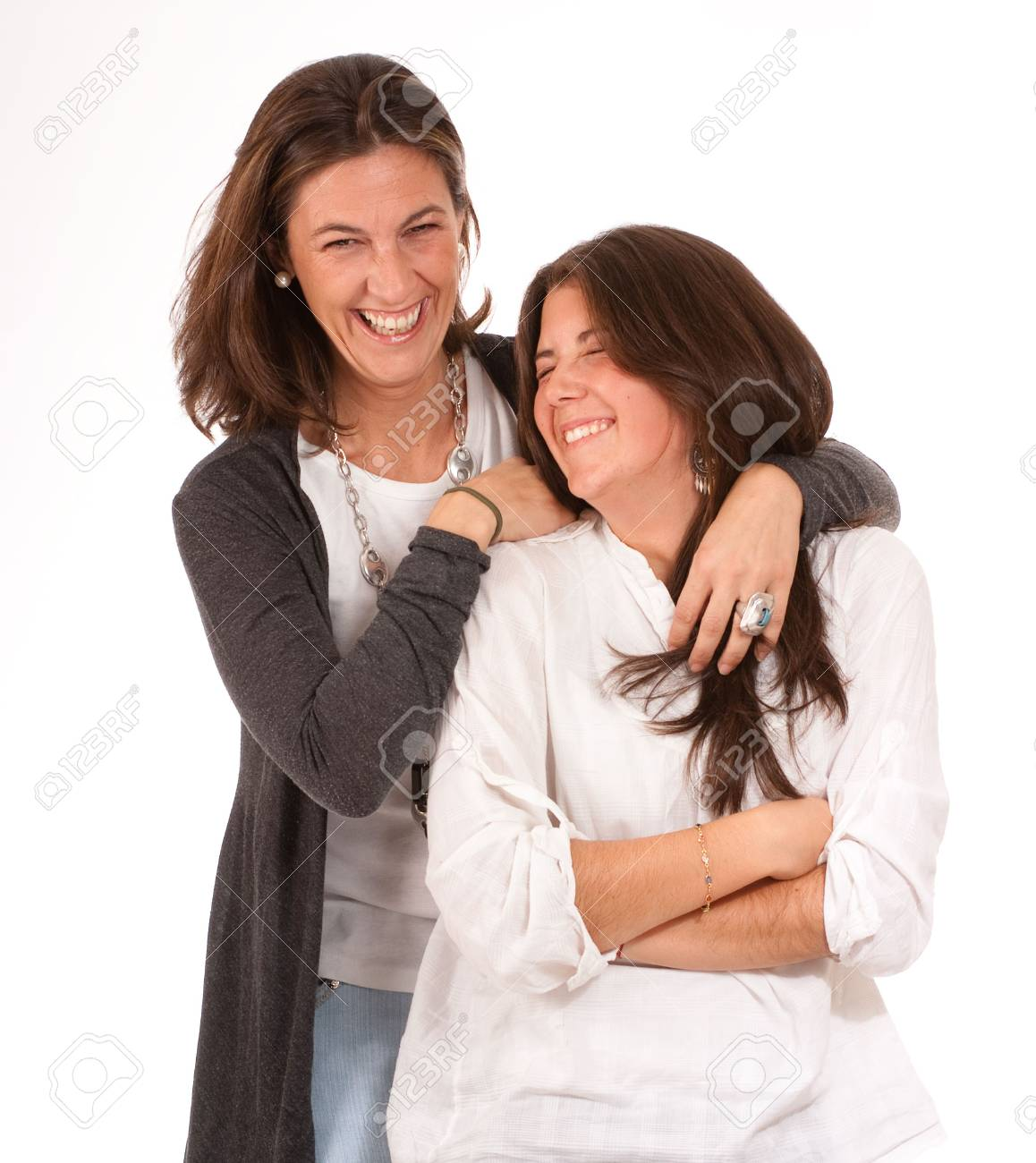 Isolated image of a mother and daughter in laughing together Stock Photo - 6227245