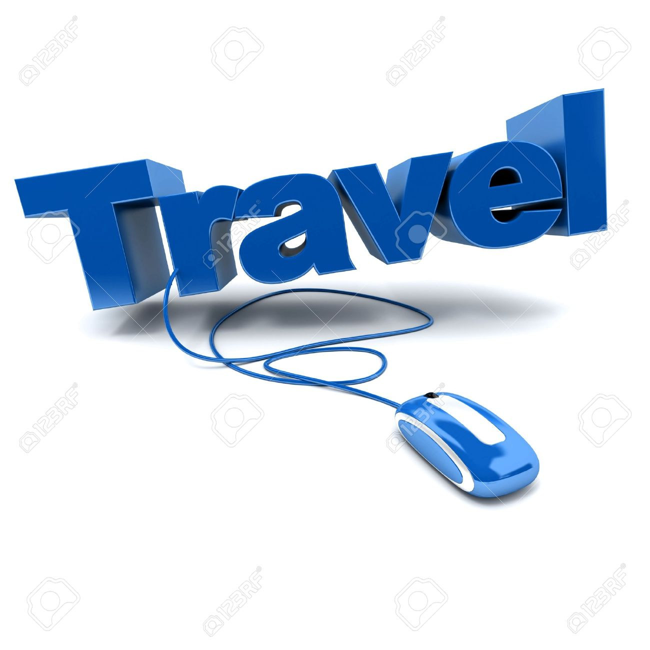 Blue And White 3D Illustration Of The Word Travel Connected To A Computer Mouse Stock