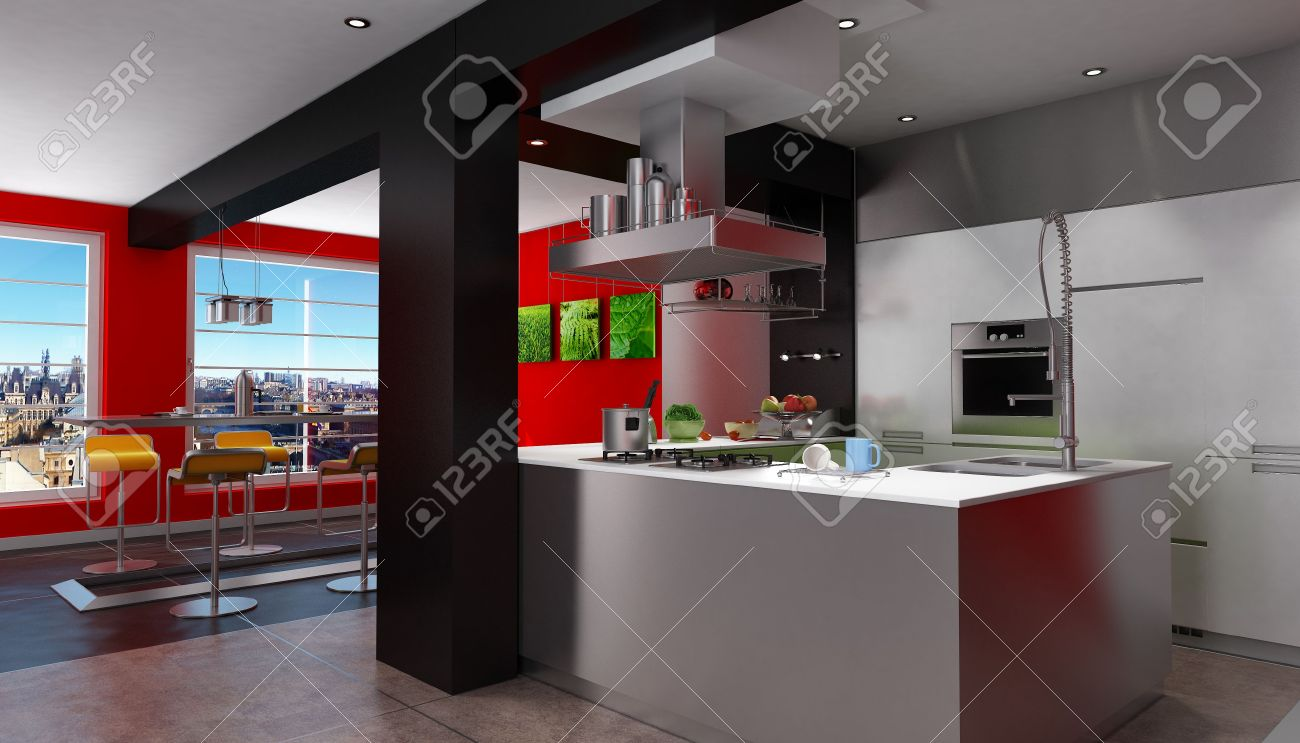 Red And Black Kitchen 3d Rendering Of A Magnificent Red And Black Kitchen With