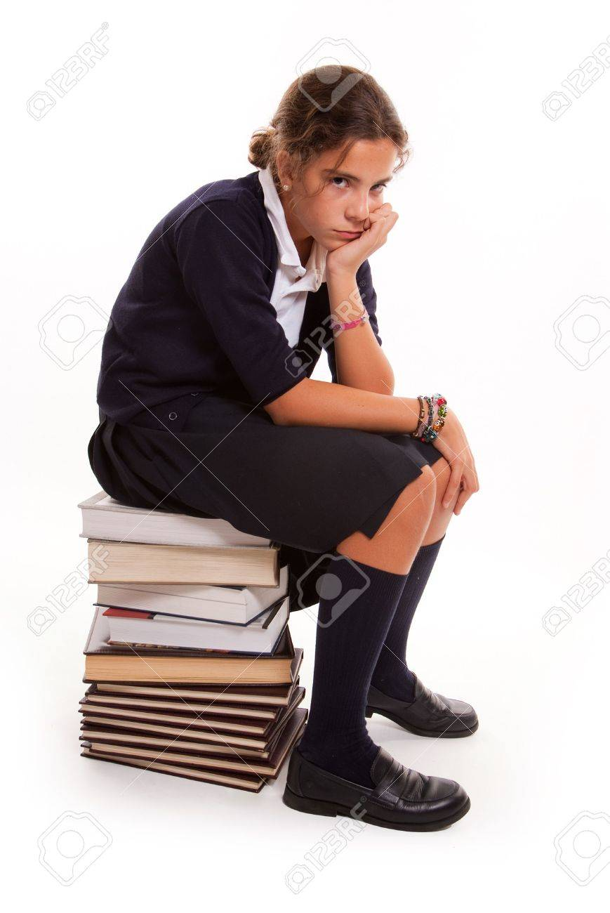 Female Student Sitting Bored And Frustrated In Front Of The ...