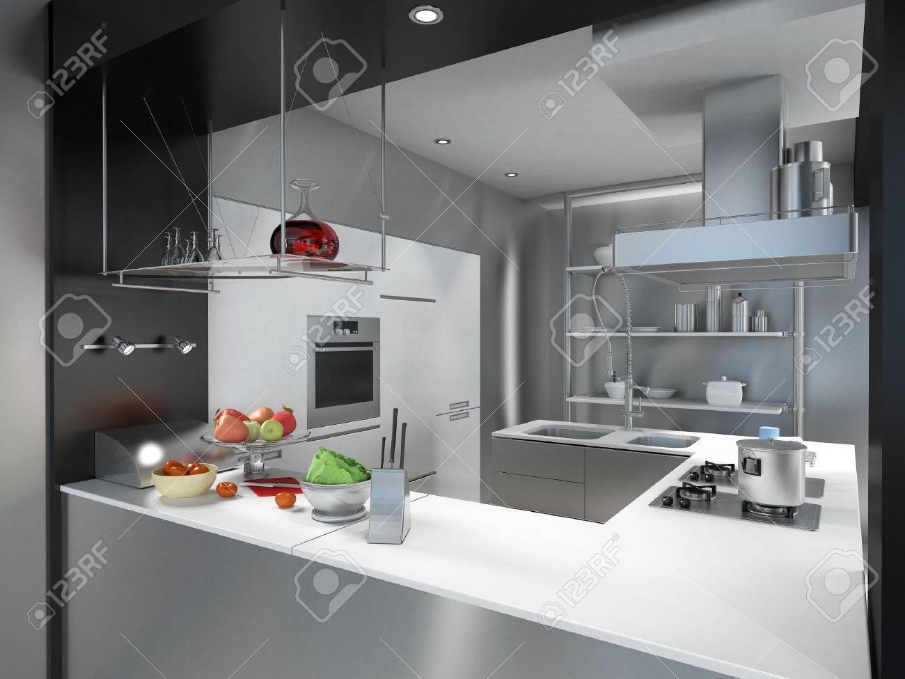 3D Rendering Einer Modernen Industriellen Küche-Insel Lizenzfreie ...