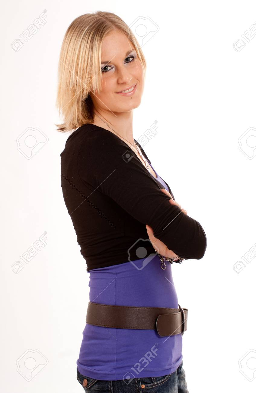 Profile of a smiling young blonde girl against a white background Stock Photo - 6826068