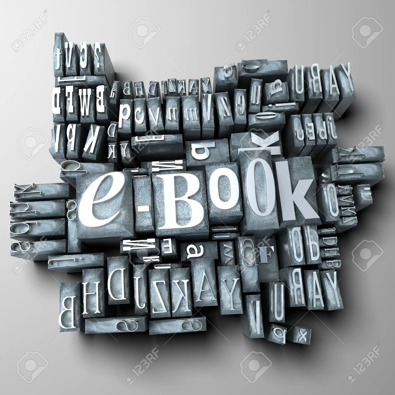 3D rendering of a background of print letter cases with the word e-book Stock Photo - 8990164