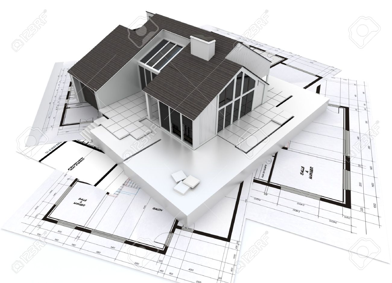 architecture blueprints 3d. 3D Rendering Of A Residential Architecture Model On Top Blueprints Stock Photo - 9548740 3d S