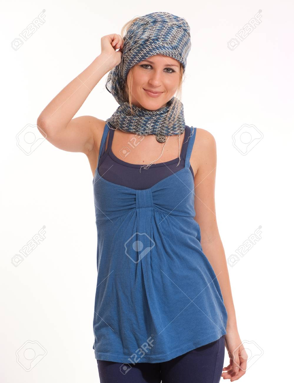 Portrait of a cute female teenager with a head scarf Stock Photo - 9548791