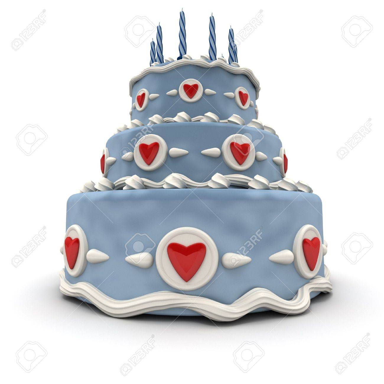 3D rendering of  a impressive blue three floor cake with red hearts and candles Standard-Bild - 9548792