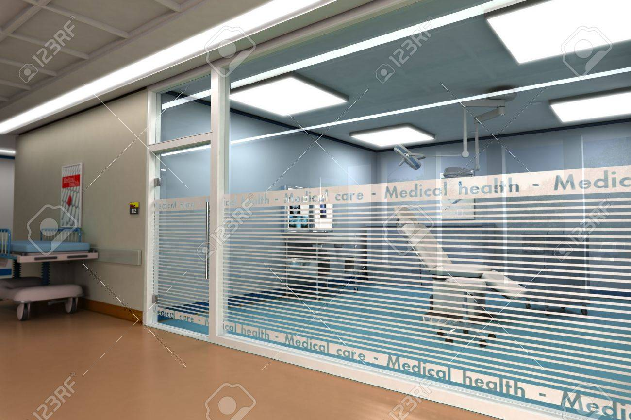 3D rendering of a minor surgery room from behind a glass wall Stock Photo - 9664800