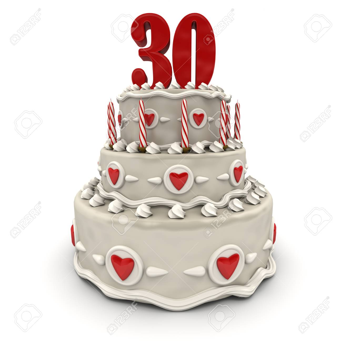 3D rendering of a multi-tiered cake with a number thirty on top Stock Photo - 9676578