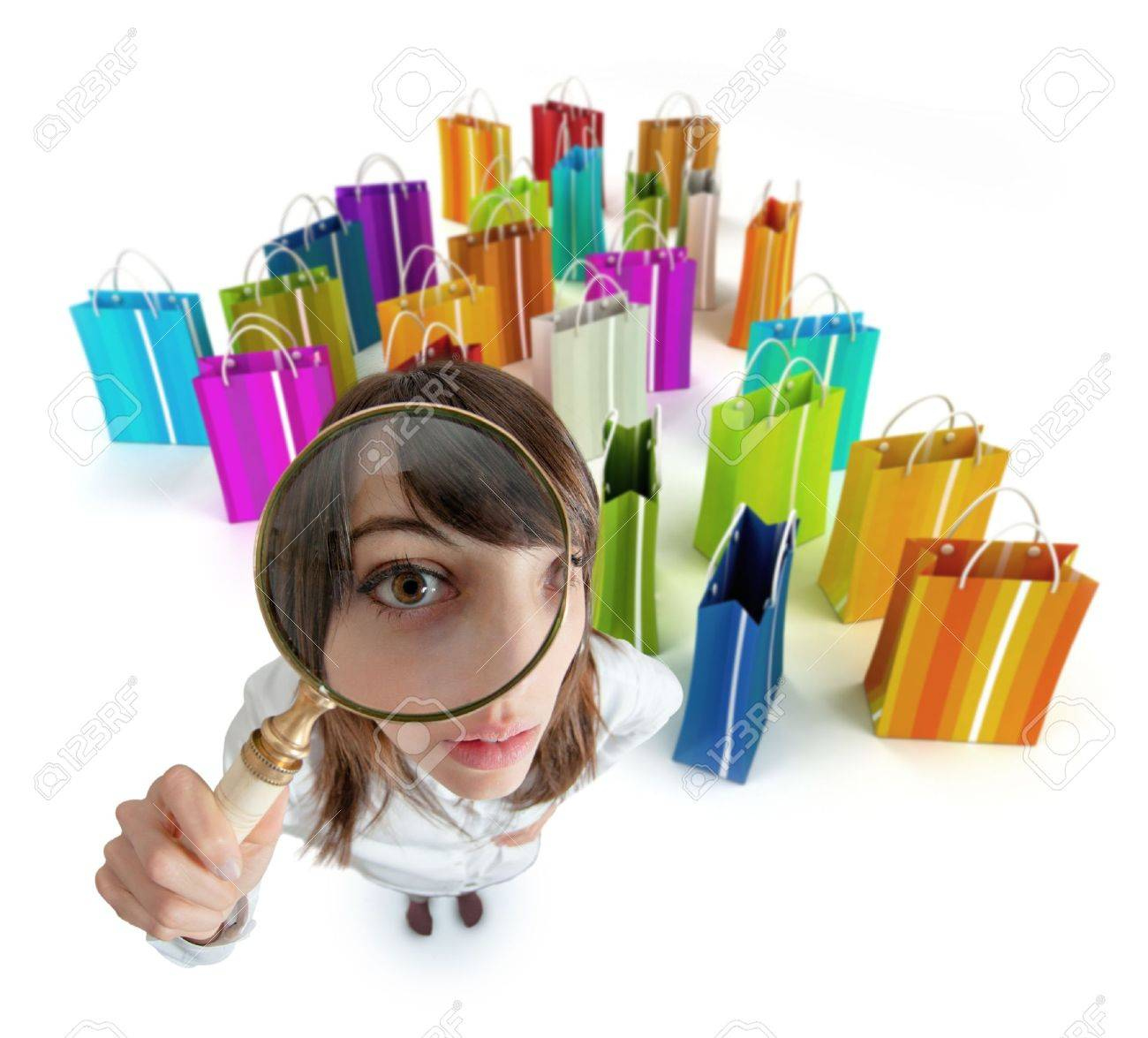 Young Woman With Magnifying Glass With Lots Of Shopping Bags Stock ...