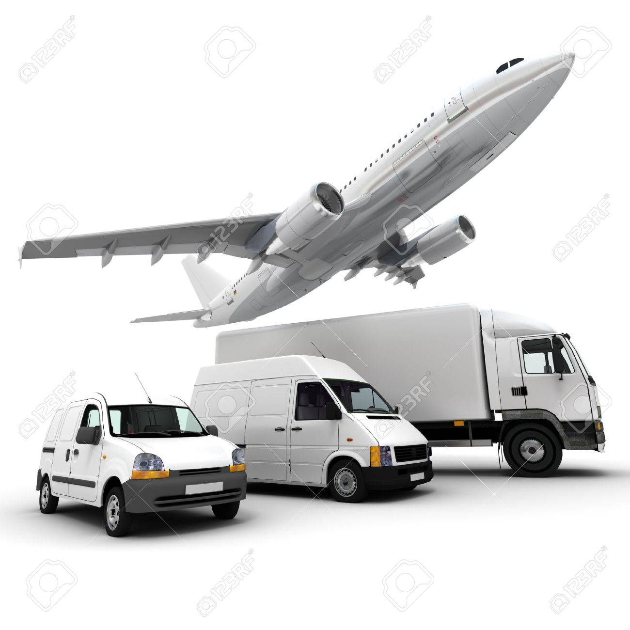 3d rendering of an airplane a truck a van and a lorry against