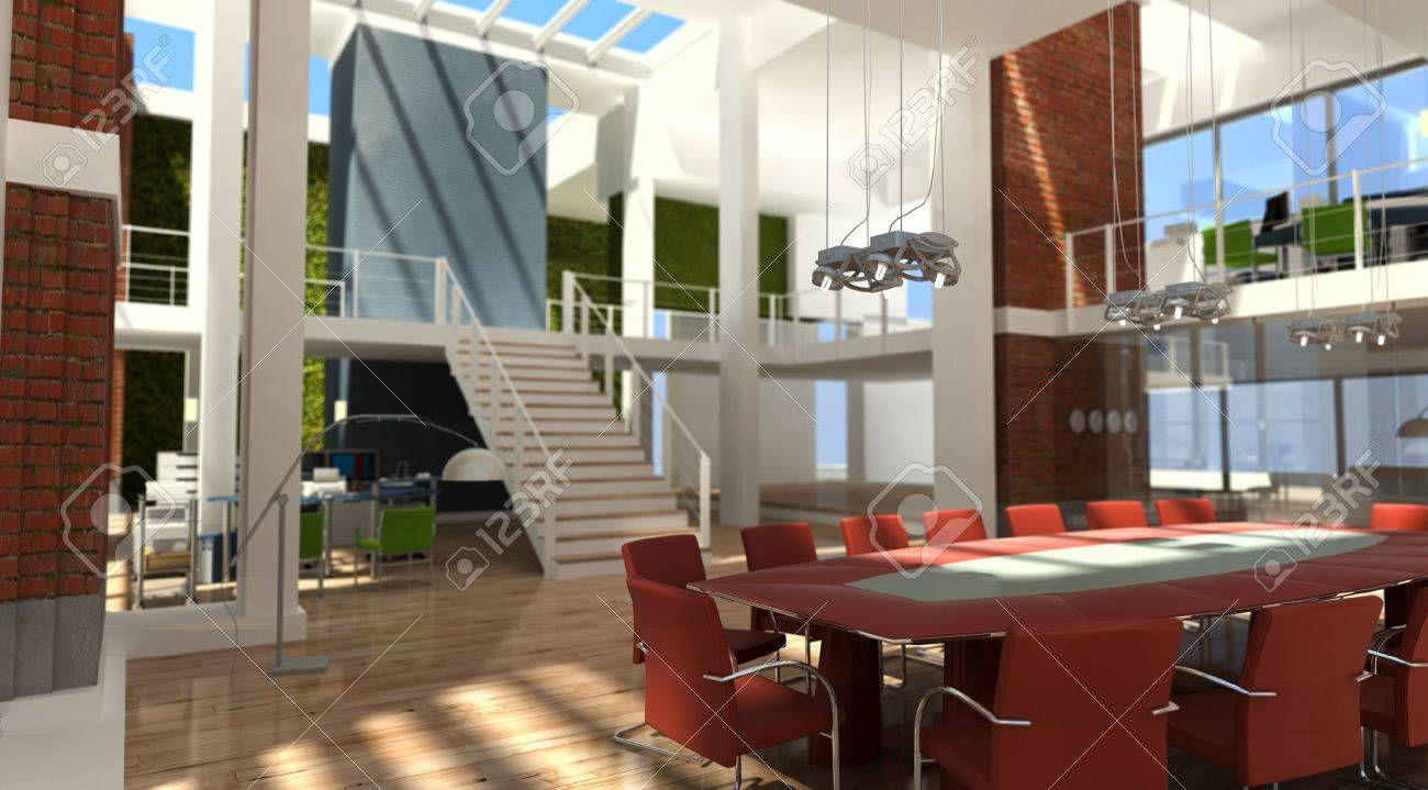 3D rendering of a very modern office in a loft Stock Photo - 10441907