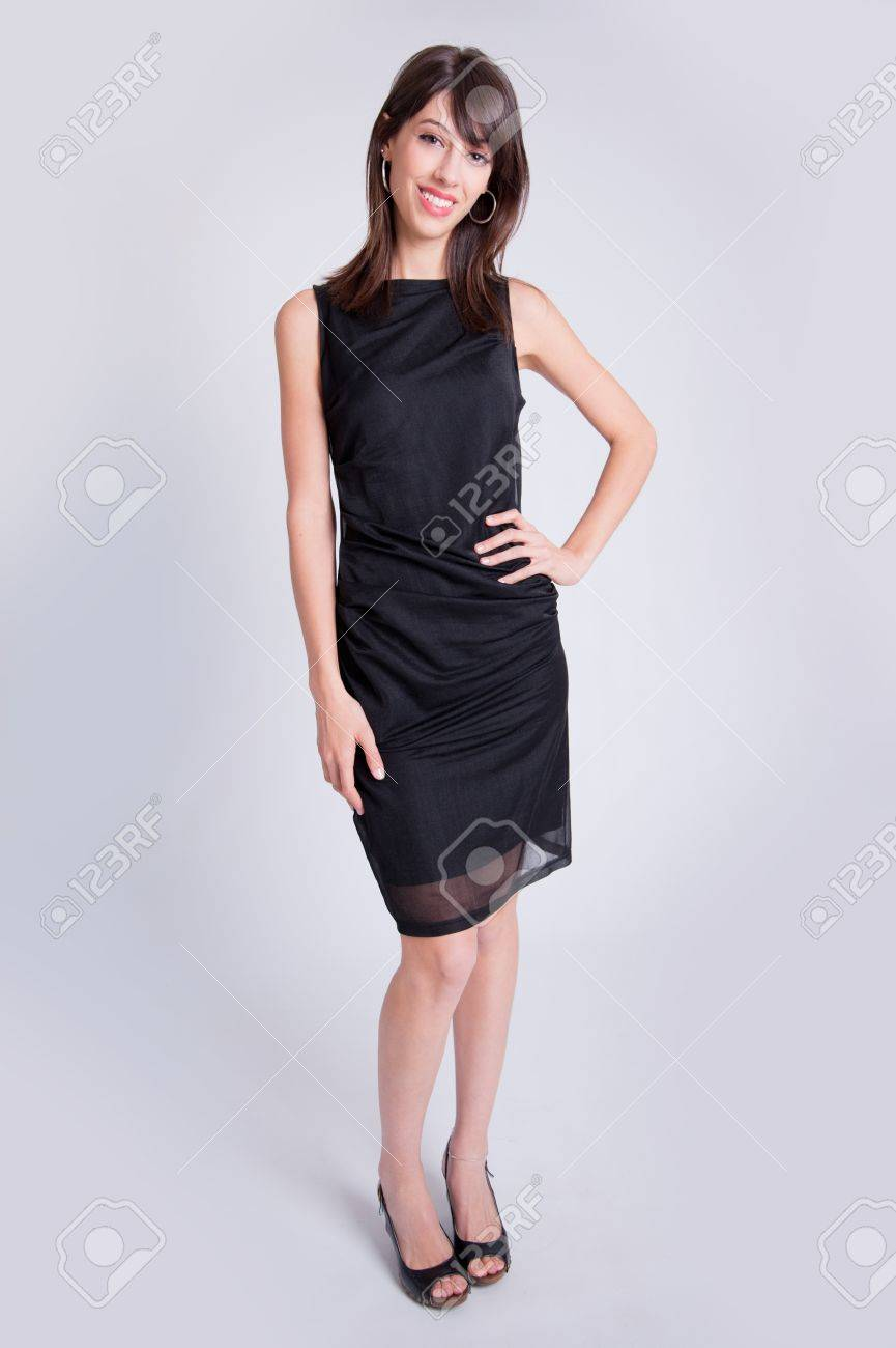 Black Dress And High Heels Stock Photo