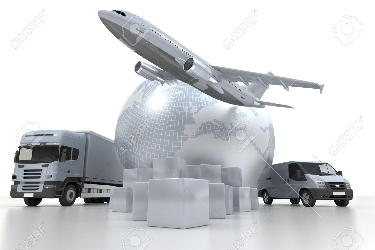 3D rendering of  a world map, goods, a truck and an airplane Stock Photo - 11036590