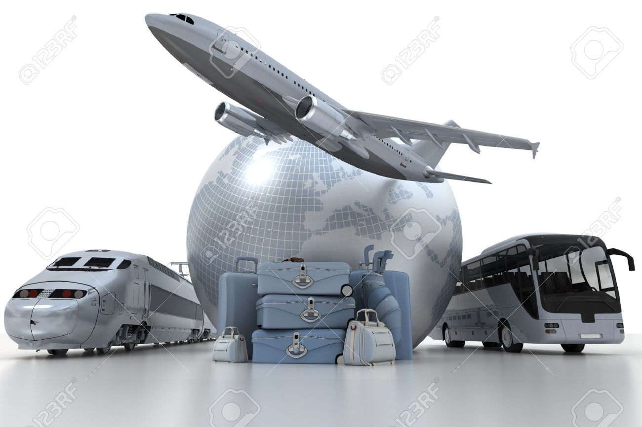 A flying plane, the Earth, a coach bus, a train and a pile of luxurious luggage Stock Photo - 11212592