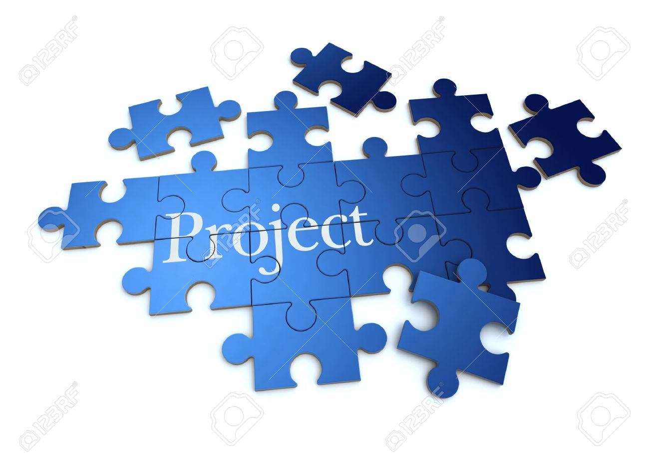 3D Rendering Of A Forming Puzzle With The Word Project Stock Photo ...
