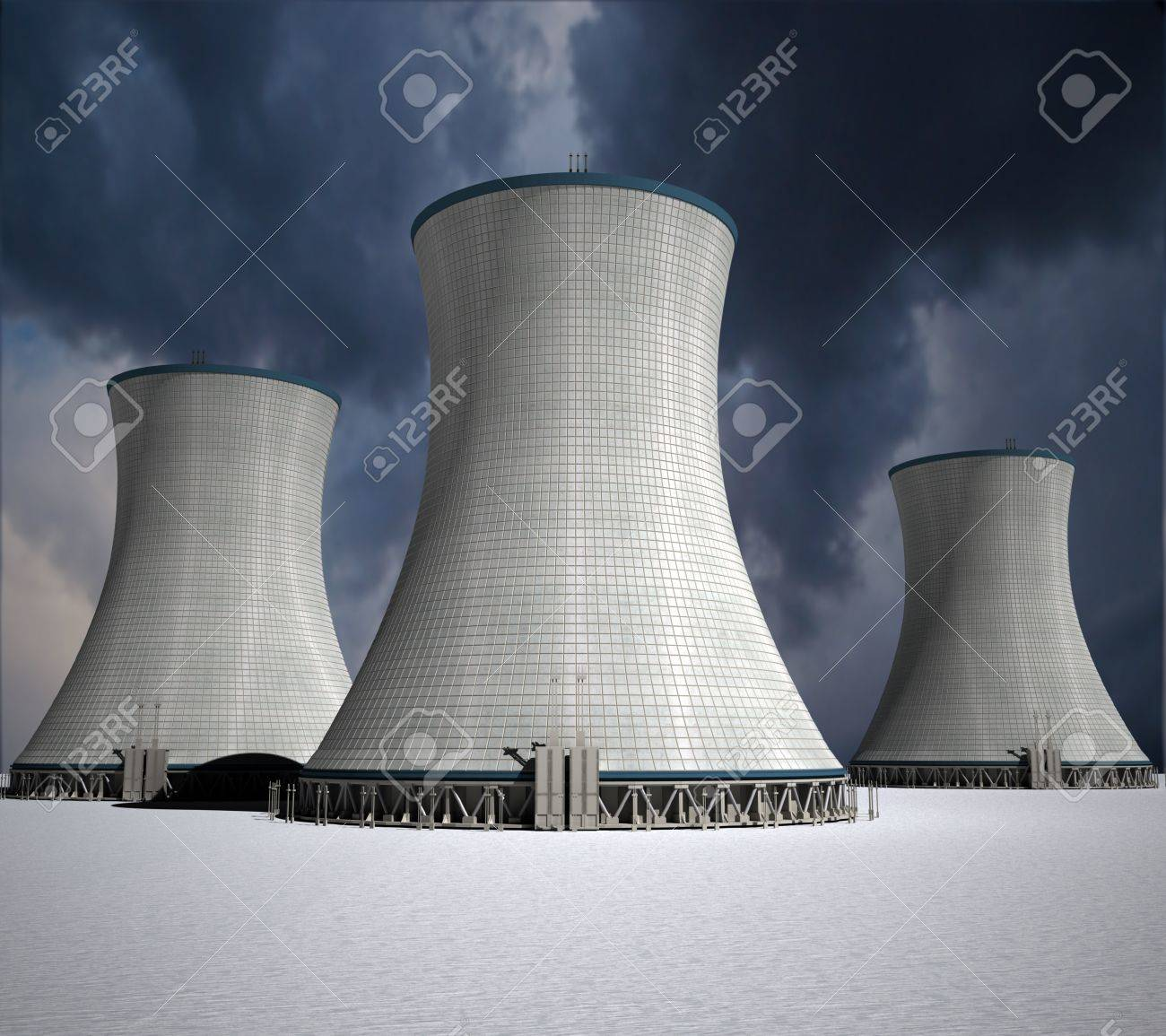3D rendering of a nuclear power station Stock Photo - 11942357