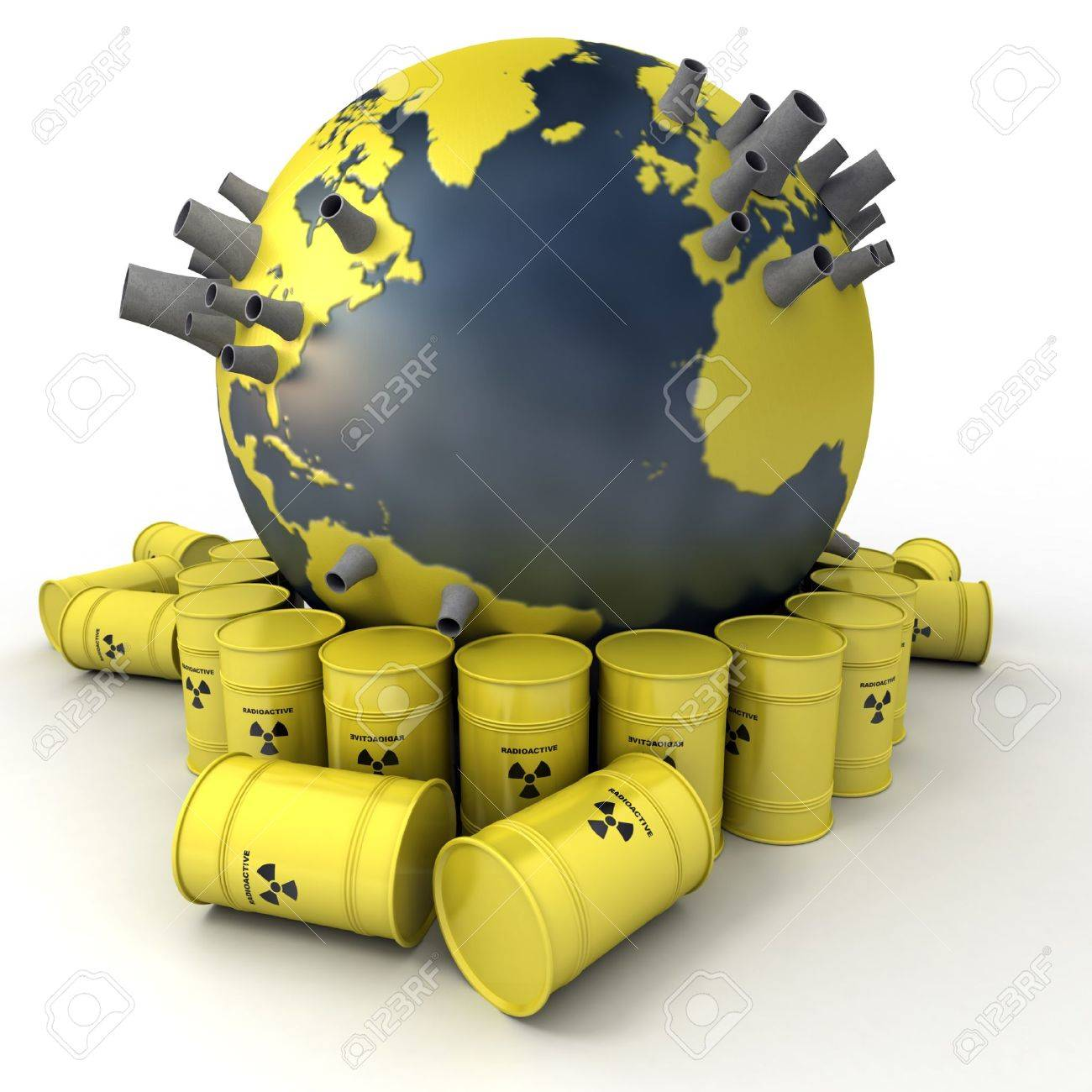 3D rendering of the Earth with nuclear power stations surrounded by barrels of nuclear waste Stock Photo - 11942349