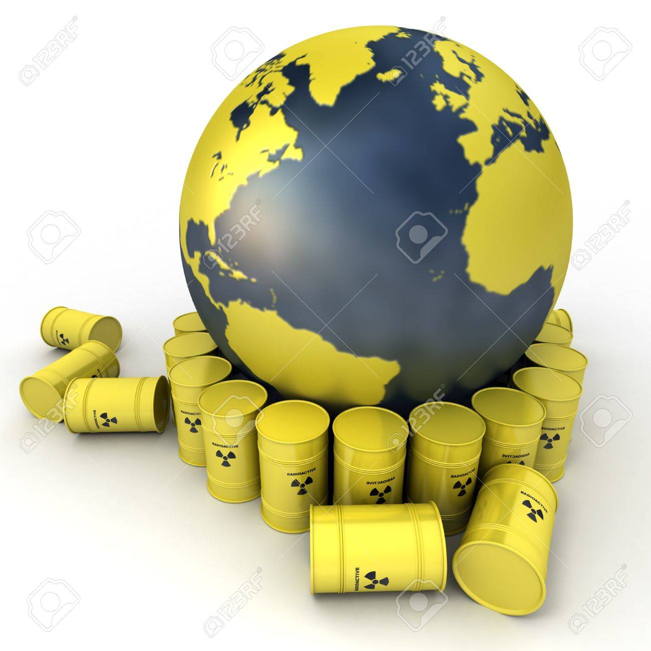 The Earth, oriented to the Atlantic surrounded by barrels of nuclear waste Stock Photo - 12203000