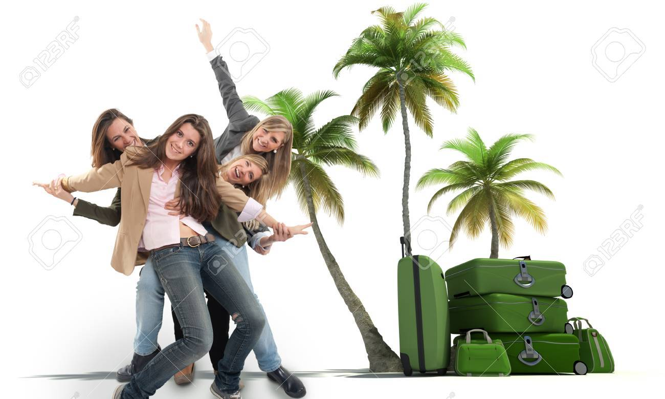 A group of happy celebrating women in an exotic travel background Stock Photo - 13196831