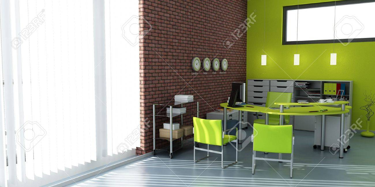 3D rendering of an office interior in blue and gray shades Stock Photo - 13148558