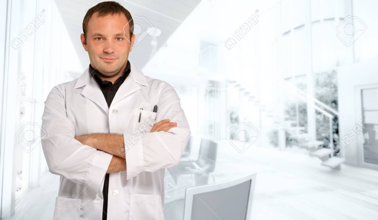 A man dressed in a lab coat in a business environment Stock Photo - 13196509