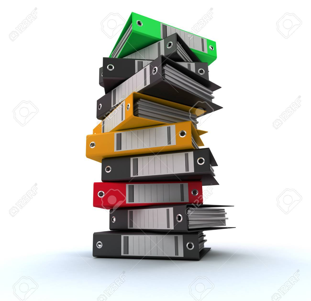 3D rendering of a pile of office ring binders Stock Photo - 13230351