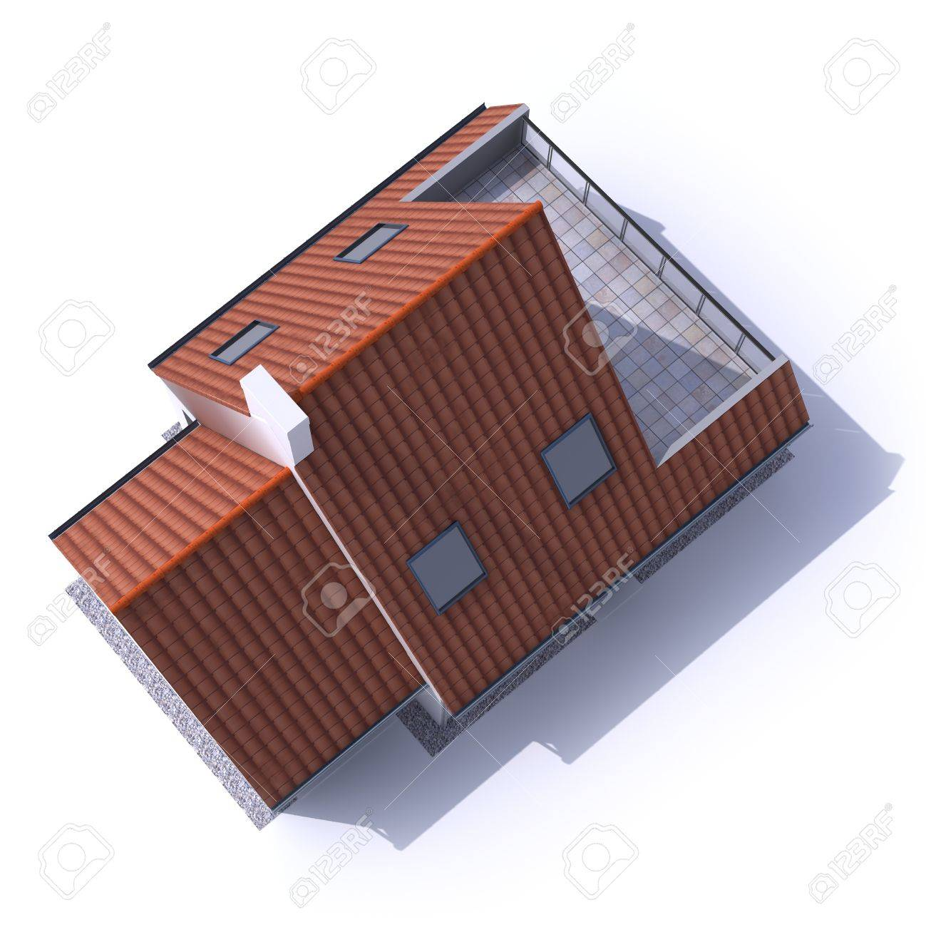 3D architecture model of a house, aerial view Stock Photo - 13253561