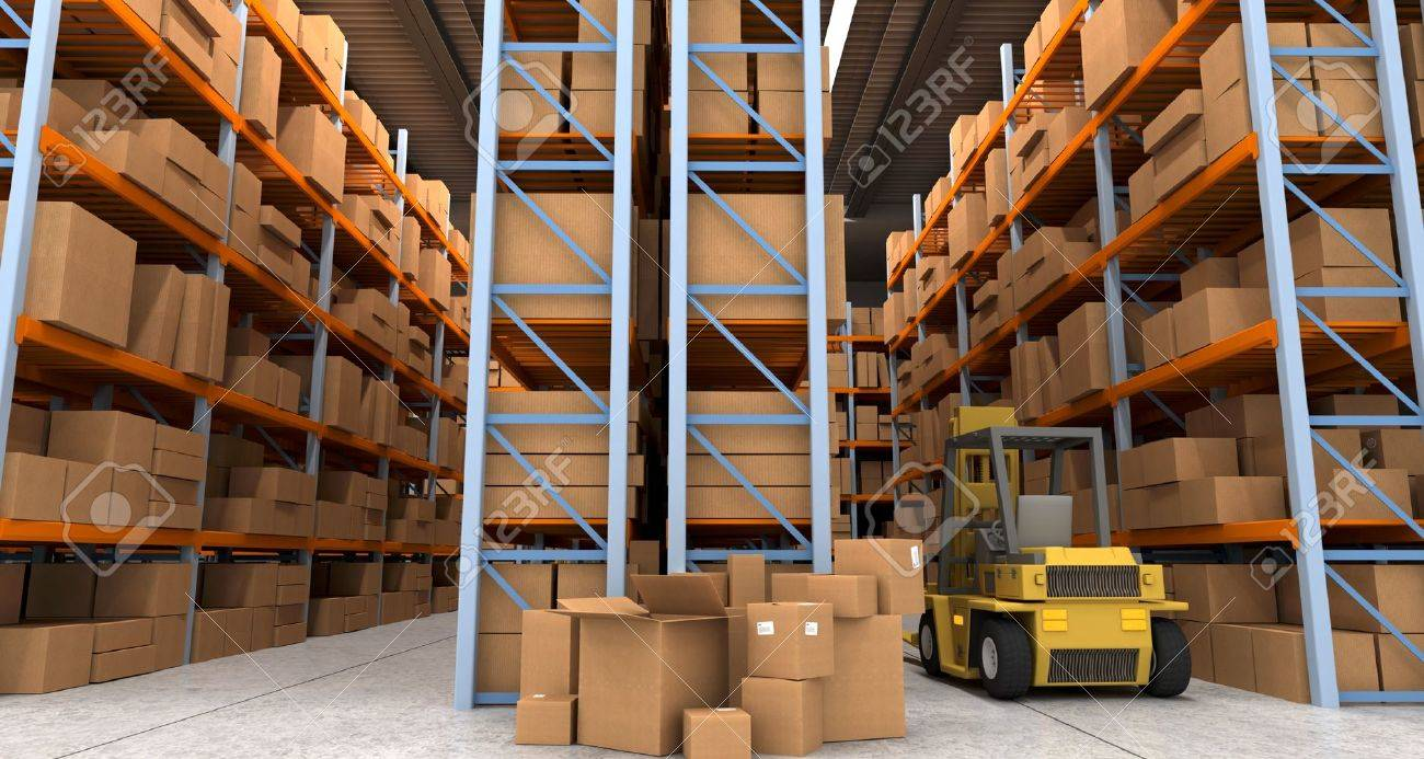 3D rendering of a distribution warehouse with shelves, racks, boxes, and forklift Stock Photo - 13253559