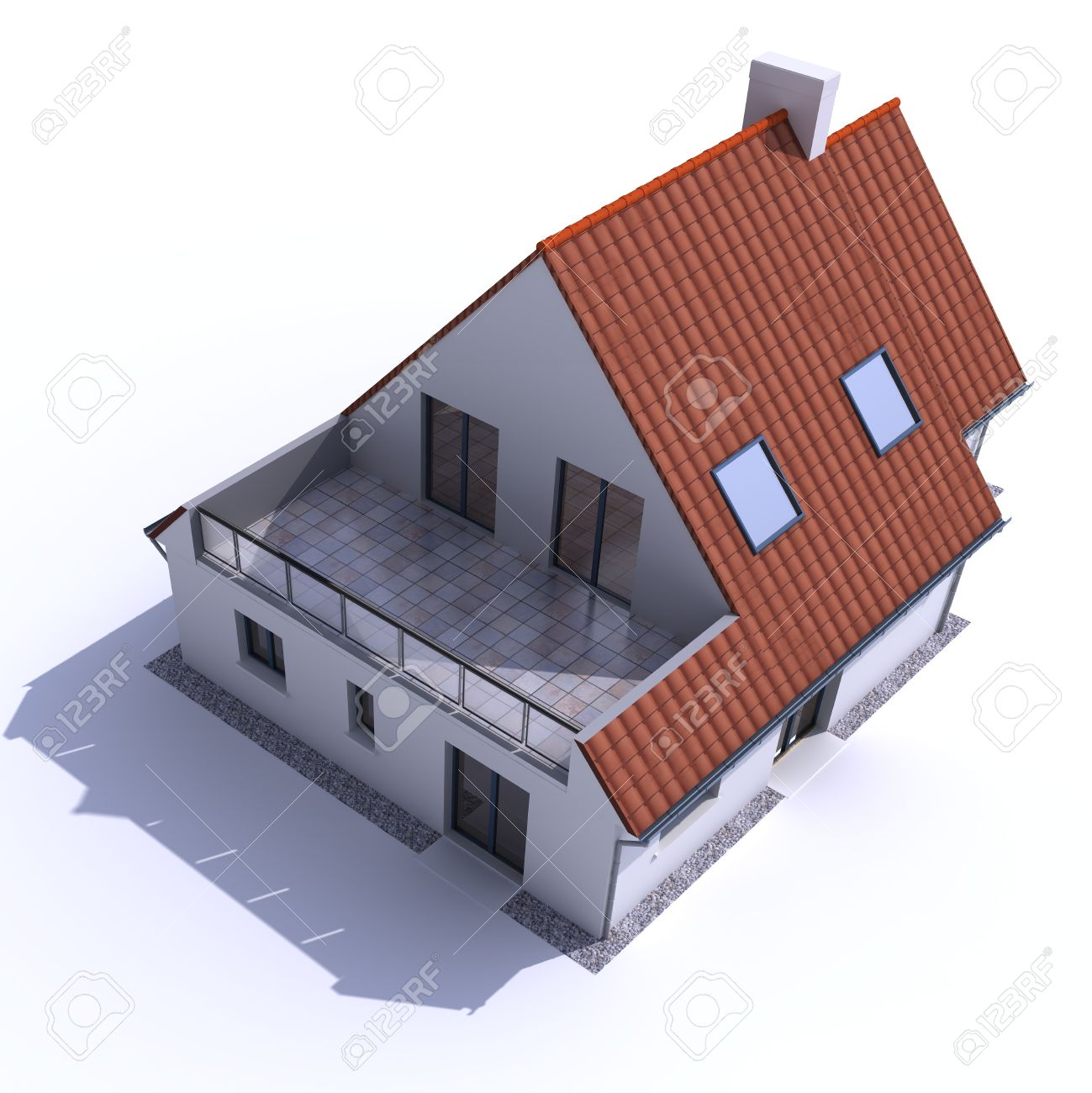 3D architecture model of a house, aerial view Stock Photo - 13354702