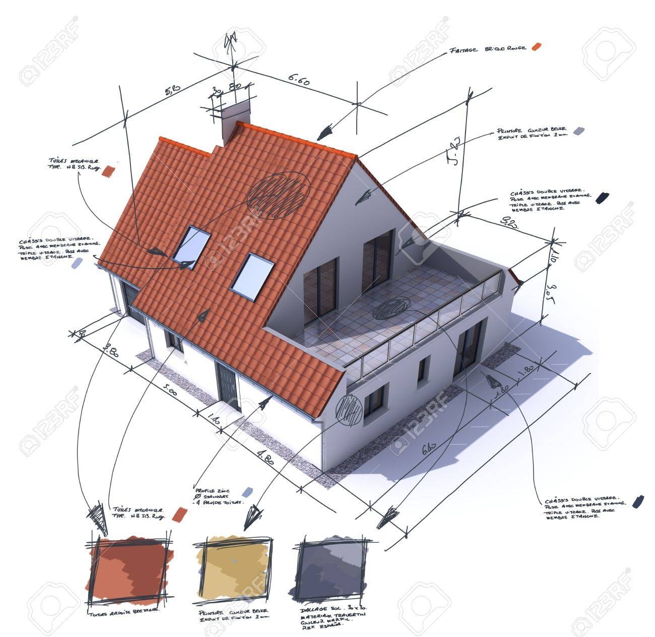 3D Rendering Of A House With Notes, Design, And Technical Specifications  Stock Photo