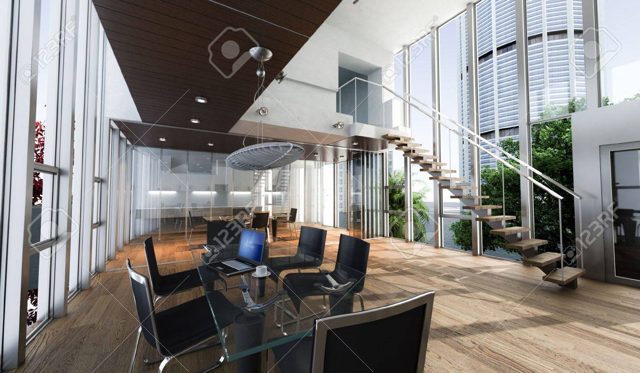 Realistic Rendering Of A Modern Luxurious Office, With ...
