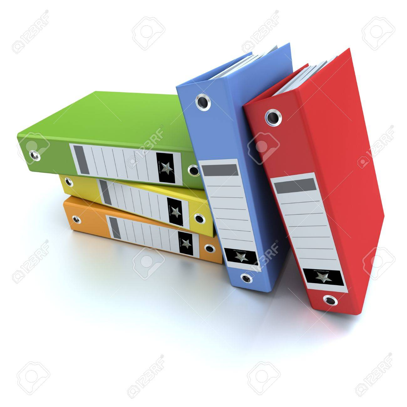3D-rendering of a group of colorful ring binders Stock Photo - 13441588