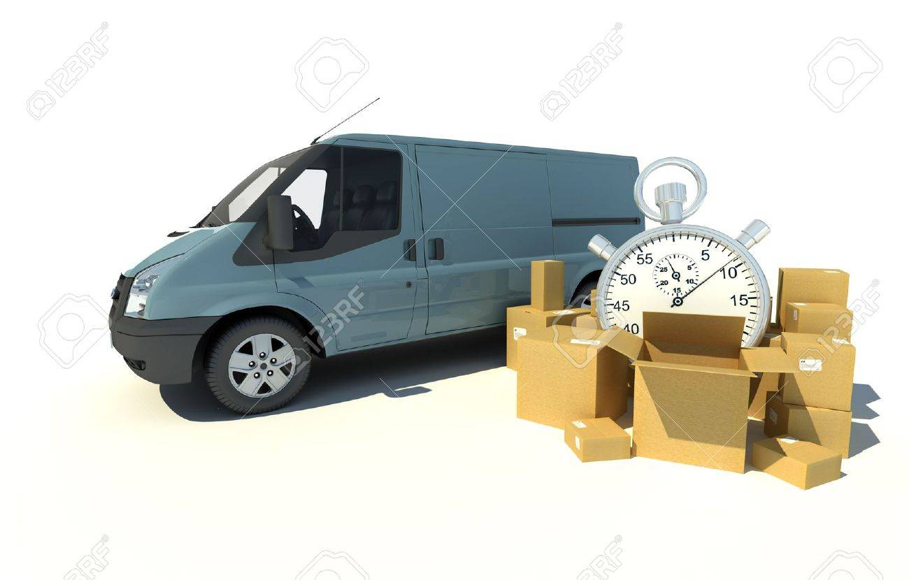 3D rendering of a gray blue van, a pile of boxes and a chronometer Stock Photo - 13441722