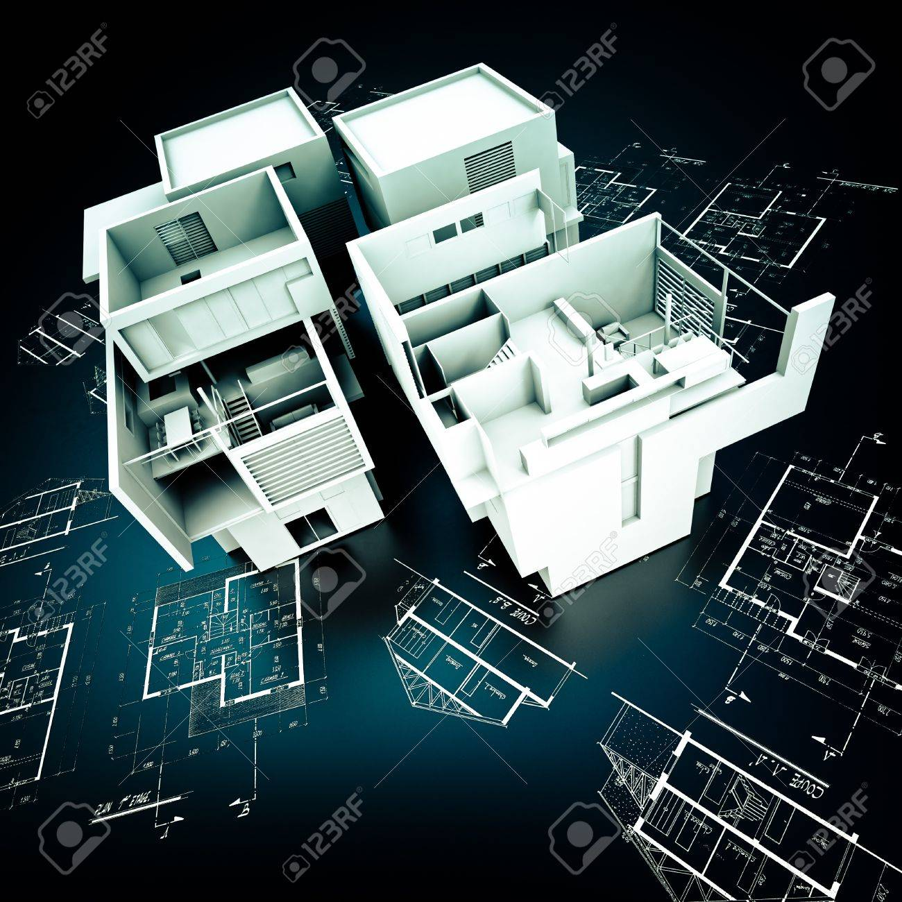 3d rendering of a modern design building on top of blueprints 3d rendering of a modern design building on top of blueprints in white and black stock malvernweather Images