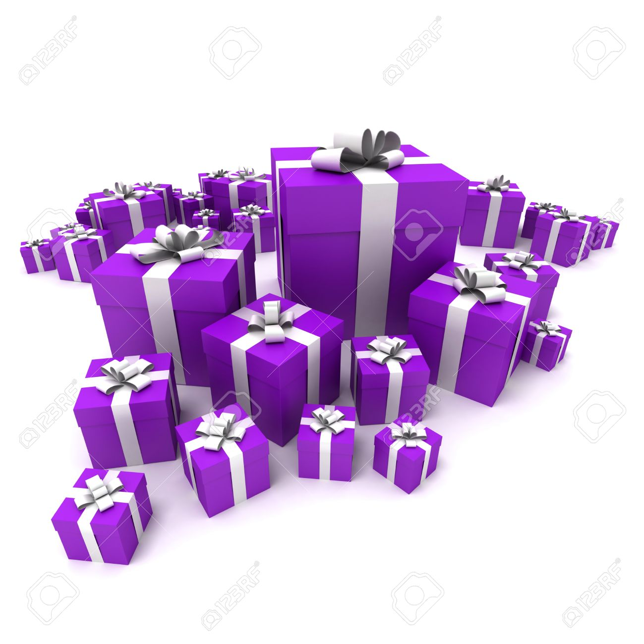 3D rendering of a big group of purple gift boxes with a white ribbons in different sizes  sc 1 st  123RF.com & 3D Rendering Of A Big Group Of Purple Gift Boxes With A White ...