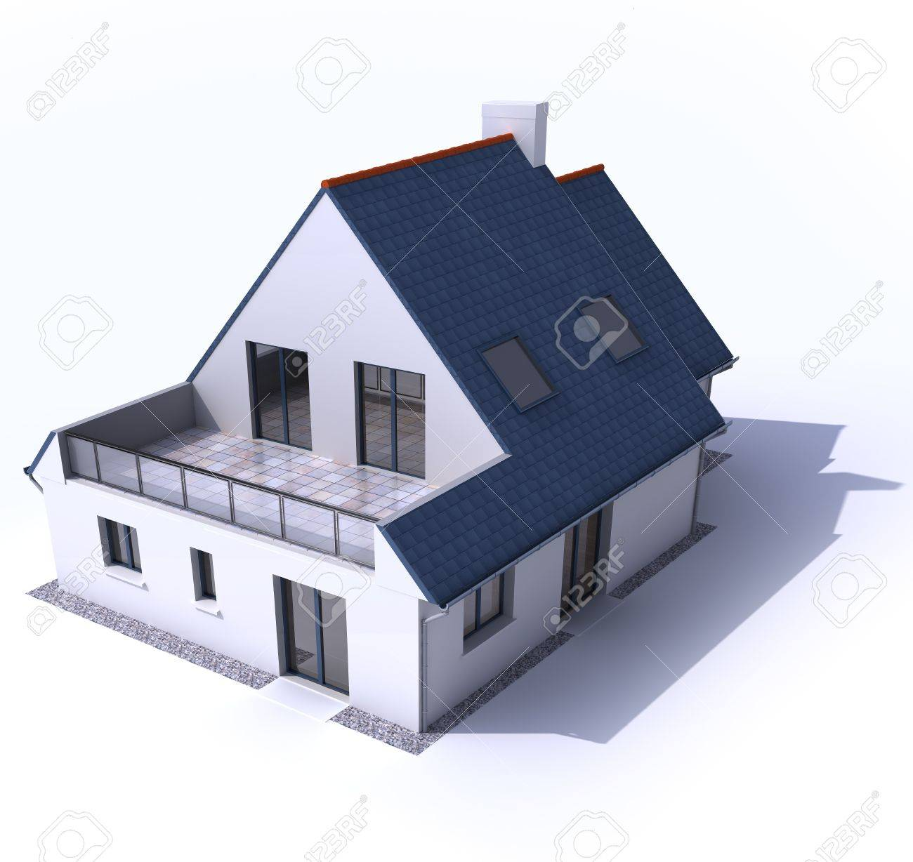 3D Architecture Model Of A House Stock Photo