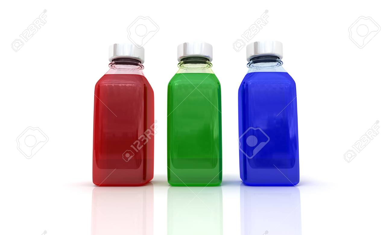 Three bottles with the basic printing colors Cyan, Magenta, Yellow, and Key Stock Photo - 13767648