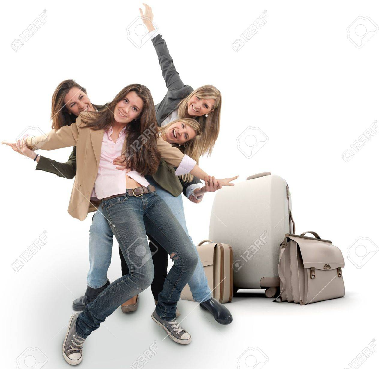 A group of happy girls celebrating a holiday travel Stock Photo - 14056898